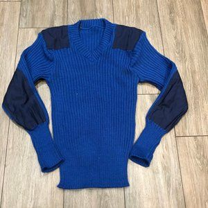 Vintage 70's Wool Blue Knit Hunting Sweater Small